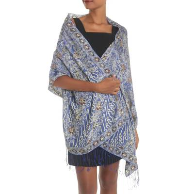 Batik silk shawl, 'Alluring Lily in Indigo' - Batik Silk Shawl with Indigo Floral Motifs from Bali