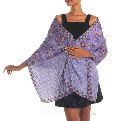 Hand Dyed Kawung Batik Silk Shawl With Floral Pattern