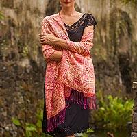 Silk batik shawl, 'Ceplok Temple Fuchsia' - Pink Hand Dyed Batik Silk Shawl with Ceplok Motif from Java