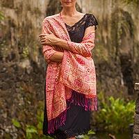 Silk batik shawl, 'Ceplok Temple Fuchsia'