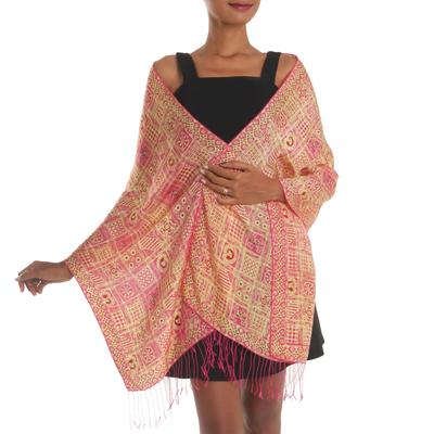 Silk batik shawl, 'Ceplok Temple Fuchsia' - Pink Hand Dyed Batik Silk Shawl with Ceplok Motif from Java