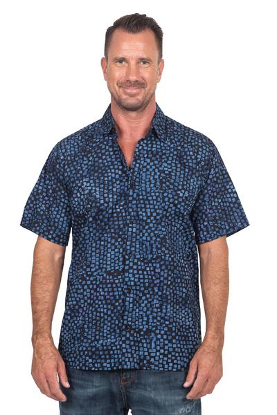 Men's cotton batik shirt, 'Pixel Play' - Men's 100% Cotton Navy Short Sleeve Hand Made Batik Shirt
