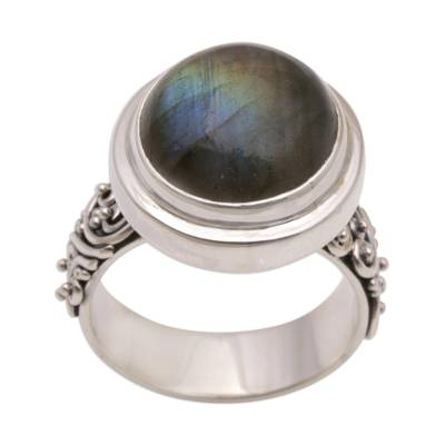 Labradorite dome ring, 'Lovely Forest' - Labradorite and Sterling Silver Dome Ring from Bali