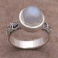 Rainbow moonstone cocktail ring, 'Translucent Forest' - Rainbow Moonstone and Sterling Silver Ring from Bali