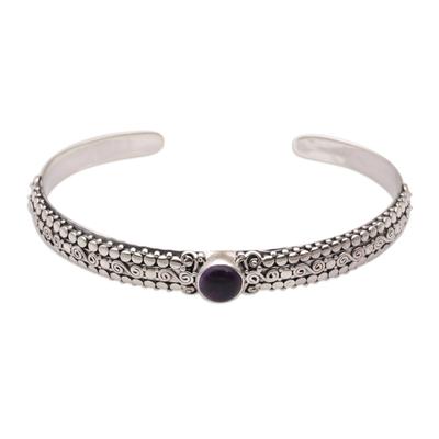 Amethyst cuff bracelet, 'Swirling Altar' - Amethyst and Sterling Silver Cuff Bracelet from Bali