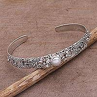 Cultured pearl cuff bracelet, 'Swirling Jepun' - Cultured Pearl and 925 Silver Floral Cuff Bracelet from Bali
