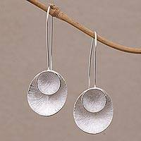 Sterling silver drop earrings, 'Modern Majesty' - Sterling Silver Modern Drop Earrings from Bali