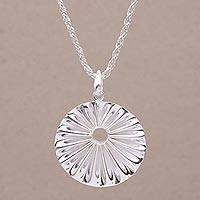 Sterling silver pendant necklace, 'Seashell Ridges' - Sterling Silver Seashell Pendant Necklace from Bali
