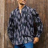 Men's cotton batik shirt, 'Pebble Lights' - Black and White Men's Long Sleeved Button Down Shirt