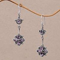 Amethyst dangle earrings, 'Ascending Petals' - Amethyst and Sterling Silver Dangle Earrings from Bali