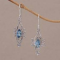 London blue topaz dangle earrings, 'Temple Eyes' - London Blue Topaz and Sterling Silver Dangle Earrings