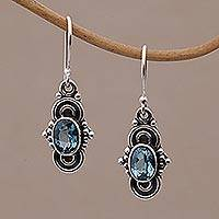 London blue topaz dangle earrings, 'Antique Altar' - London Blue Topaz and Sterling Silver Dangle Earrings
