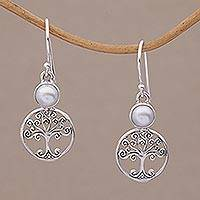 Cultured pearl dangle earrings, 'Moonlit Branches' - Cultured Pearl and Sterling Silver Tree Earrings from Bali