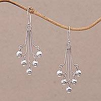Sterling silver dangle earrings, 'Chandelier Baubles' - Sterling Silver Bauble Dangle Earrings from Bali