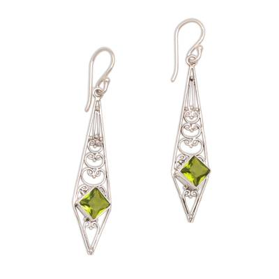 Peridot and Sterling Silver Dangle Earrings from Bali