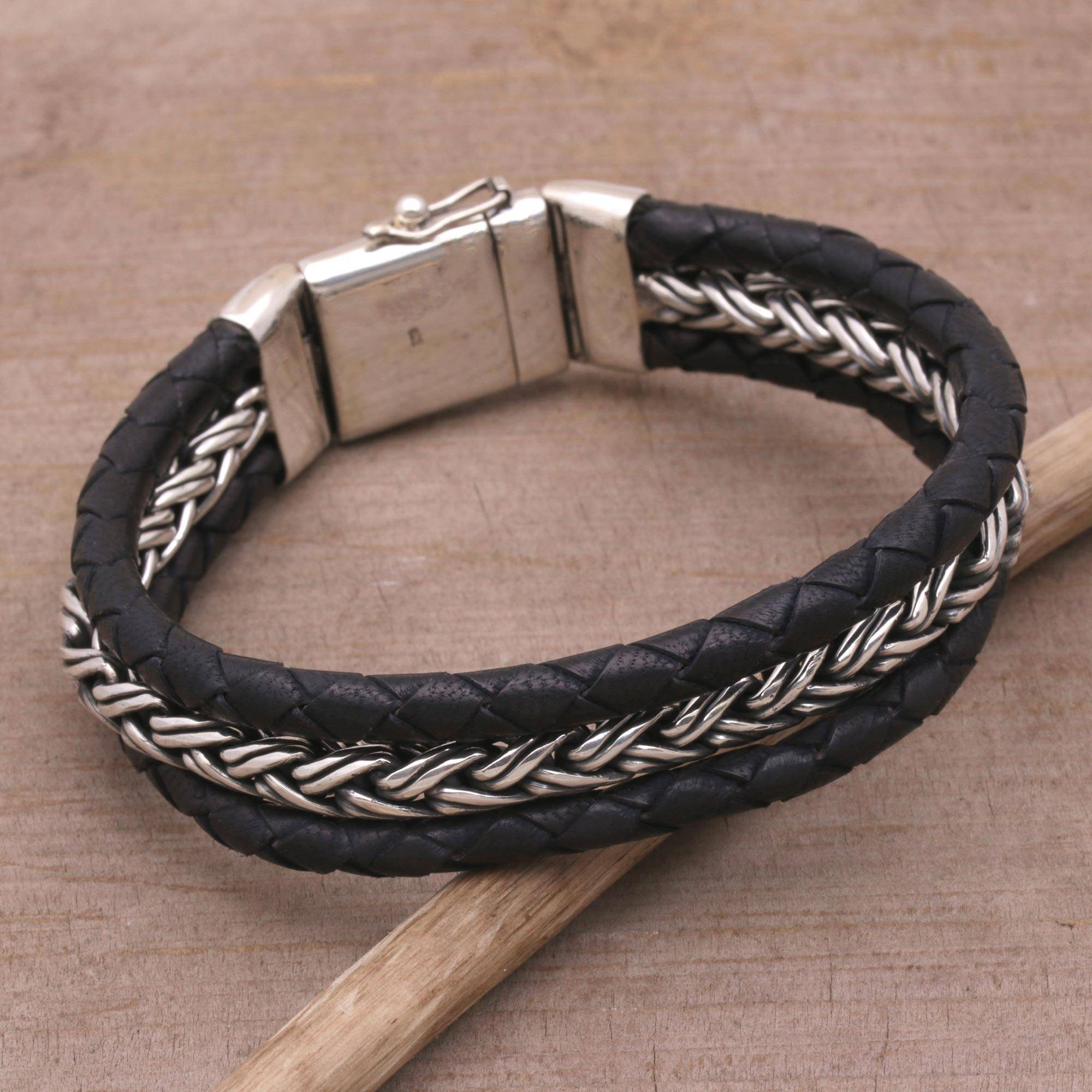 Men S Leather And Sterling Silver Wristband Bracelet Bold Weave