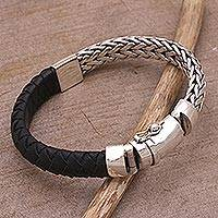 Leather and sterling silver wristband bracelet, 'Bali Valor' - Leather Accent Sterling Silver Wristband Bracelet from Bali