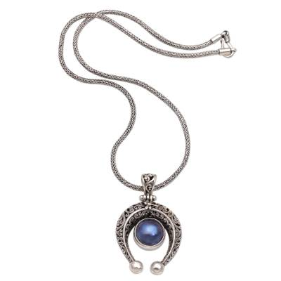 Cultured pearl pendant necklace, 'Lucky Vines' - Sterling Silver and Cultured Pearl Necklace from Bali