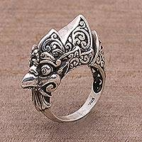Sterling silver cocktail ring, 'Glaring Guak' - Artisan Crafted Sterling Silver Crow Cocktail Ring from Bali