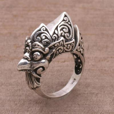 Artisan Crafted Sterling Silver Crow Cocktail Ring from Bali