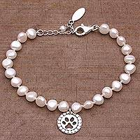 Cultured pearl charm bracelet, 'Paw Medallion' - Cultured Pearl and Sterling Silver Beaded Bracelet from Bali