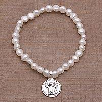 Cultured pearl stretch charm bracelet, 'Canine Angel' - Cultured Pearl and Sterling Silver Beaded Bracelet form Bali