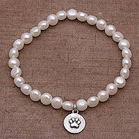 Cultured pearl stretch charm bracelet, 'Luminous Paw' - Cultured Pearl and Sterling Silver Beaded Bracelet from Bali