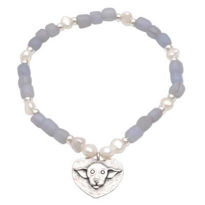 Cultured Pearl Dog-Themed Beaded Bracelet from Bali