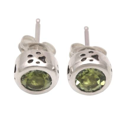 Peridot and Sterling Silver Paw Stud Earrings from Bali