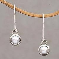 Cultured pearl dangle earrings, 'Glowing Paws' - Cultured Pearl Paw Motif Dangle Earrings from Bali
