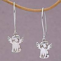Sterling silver dangle earrings, 'Angel Pups' - Sterling Silver Puppy Dangle Earrings from Bali