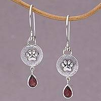Garnet dangle earrings, 'Teardrop Paws' - Garnet and Sterling Silver Dangle Earrings from Bali