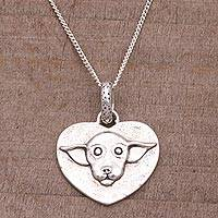 Sterling silver pendant necklace, 'Chihuahua Love' - Sterling Silver Heart-Shaped Pendant Necklace from Bali