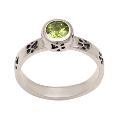 Peridot and Sterling Silver Single Stone Ring from Bali
