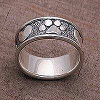Sterling silver band ring, 'Loving Paws' - Sterling Silver Paw Heart Band Ring from Bali