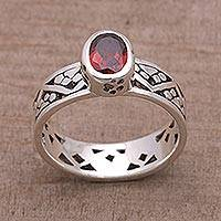 Garnet single stone ring, 'Paws for a Cause' - Garnet and Sterling Silver Single Stone Ring from Bali