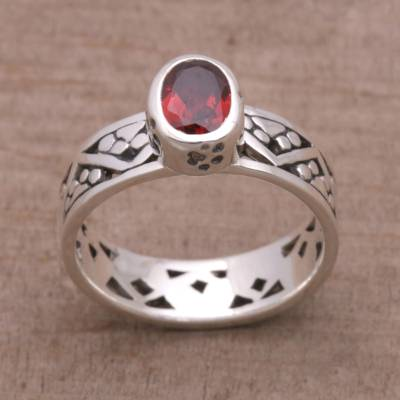 Silver jewelry - Garnet and Sterling Silver Single Stone Ring from India