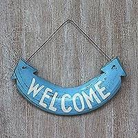 Wood sign, 'Blue Welcome' - Handcrafted Blue Albesia Wood Welcome Wall Sign