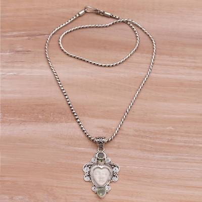 Peridot and Sterling Silver Face Necklace from Bali