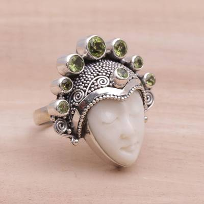 Peridot cocktail ring, 'Sunshine Knight' - Peridot and Sterling Silver Face Cocktail Ring from Bali