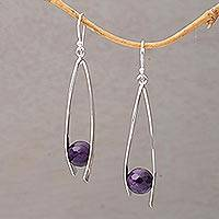Amethyst dangle earrings, 'Stellar Cradles' - Amethyst and Sterling Silver Dangle Earrings from Bali