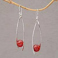 Carnelian dangle earrings, 'Stellar Cradles' - Carnelian and Sterling Silver Dangle Earrings from Bali