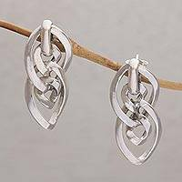 Sterling silver drop earrings, 'Immutable Beauty' - 925 Sterling Silver Link Drop Earrings from Bali