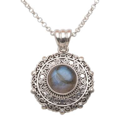 Labradorite pendant necklace, 'Frangipani Secrets' - Labradorite and Sterling Silver Pendant Necklace from Bali