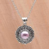 Cultured pearl pendant necklace, 'Frangipani Secrets' - Pink Cultured Pearl and Sterling Silver Necklace from Bali