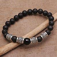 Onyx and lava stone beaded stretch bracelet, 'Batur Heritage' - Onyx Lava Stone and 925 Silver Beaded Bracelet from Bali