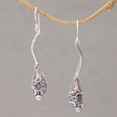 Gold Accented Garnet Dangle Earrings Dragon Queen And Sterling Silver