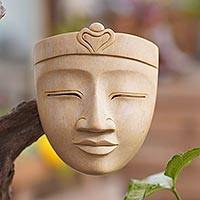 Hibiscus wood mask, 'Heavenly Buddha' - Handcrafted Hibiscus Wood Buddha Mask from Bali