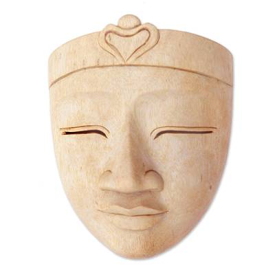 Handcrafted Hibiscus Wood Buddha Mask from Bali