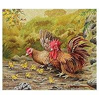 'Forest Love' - Signed Pointillist Painting of a Chicken Family from Bali